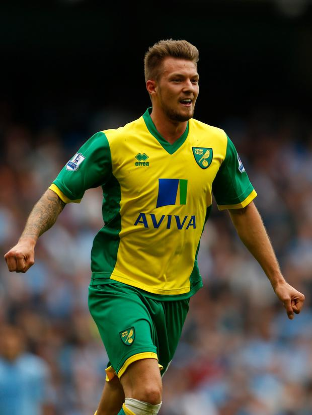 Anthony Pilkington of Norwich celebrates his goal yesterday