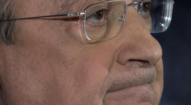 Real Madrid's President Florentino Perez during a press conference (AP Photo/Paul White)