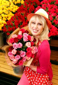 Joanna Lumley poses in front of the M&S stand at the RHS Chelsea Flower Show, London.