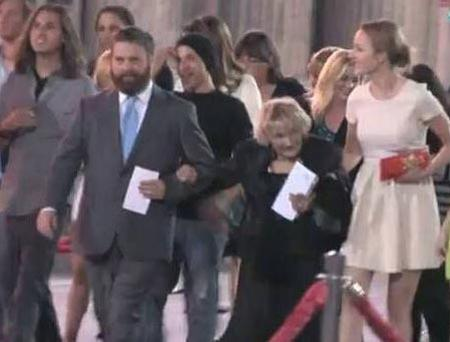 The Hangover star Zach Galifianakis's date for premieres isn't arm candy – it's his friend (87) who he saved from homelessness