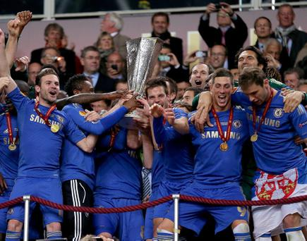This year's winners Chelsea celebrate with the UEFA Europa League trophy