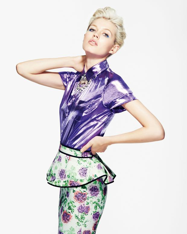 Prepare to have your shoulders stroked - a lot! The uber-shiny texture of Marks & Spencer's Limited Collection purple foil shirt gives it instant tactile appeal, €50 (approx), available June.