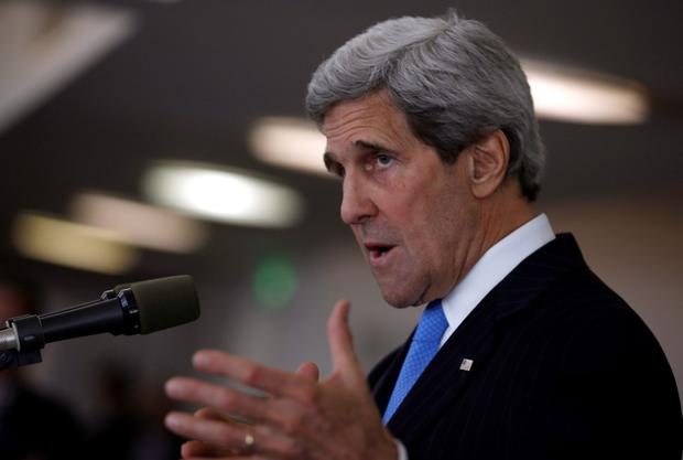 U.S. Secretary of State John Kerry speaks at a news conference in Tel Aviv. REUTERS/Jim Young