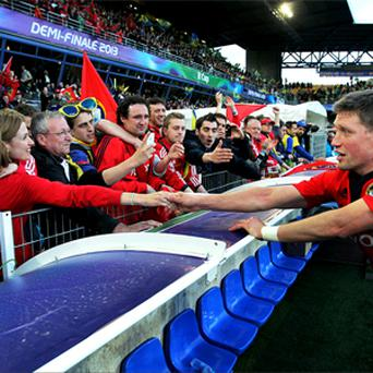 Jessica greets Ronan after Munster's Heineken Cup semi-final defeat