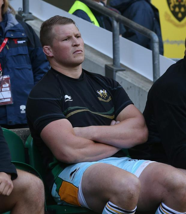 Dylan Hartley, the Northampton captain sits on the bench after being sent off during the Aviva Premiership Final between Leicester Tigers and Northampton Saints at Twickenham