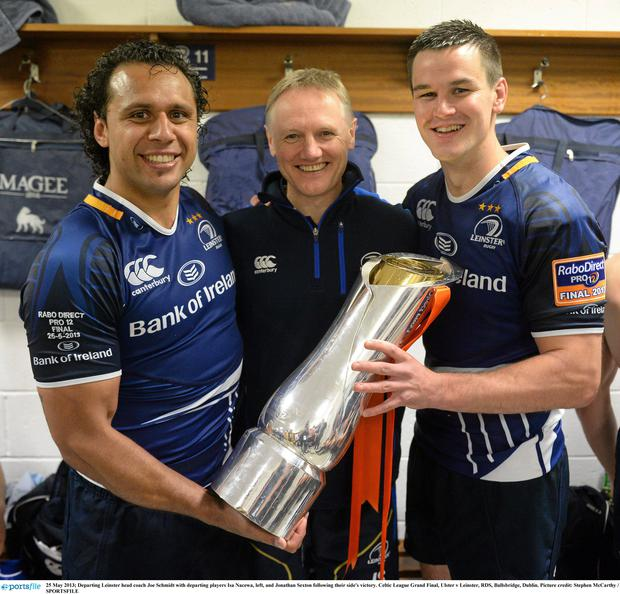 Departing Leinster head coach Joe Schmidt with departing players Isa Nacewa and Jonathan Sexton following their side's victory.