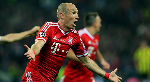 Arjen Robben of Bayern Munich celebrates after scoring his late winner in last season's Champions League final