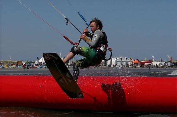 Daredevil kite boardercross competitors show how it's done on blustery Dollymount Strand
