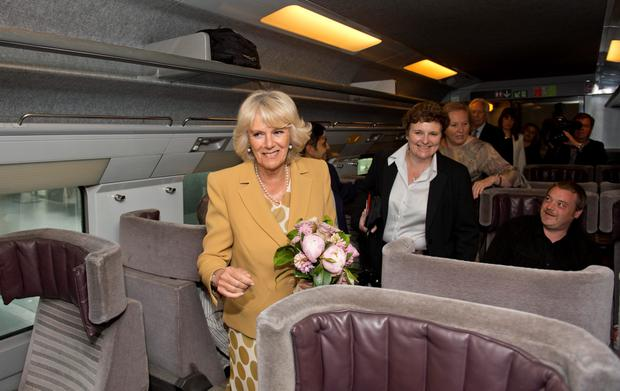 The Duchess of Cornwall at St Pancras International Station in London boarding an Eurostar train to Paris to start her official solo international engagement
