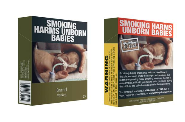 Undated handout image issued by the Commonwealth of Australia of a general view of an example of the front (left) and back (right) of plain pack cigarettes as Ireland is set to become the second country in the world to introduce plain pack cigarettes