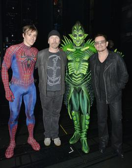 Reeve Carney, The Edge, Robert Cuccioli and Bono attend the Spider-Man Turn Off The Dark celebration of its 1,000 performance on Broadway at Foxwoods Theatre on May 29, 2013 in New York City.