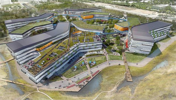 An artist's impression of the proposed Google corporate headquarters in Mountain View, California