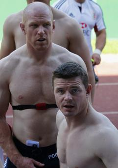 British & Irish Lions centre Brian O'Driscoll (R) and captain Paul O'Connell take part in a training session in Hong Kong REUTERS/Bobby Yip