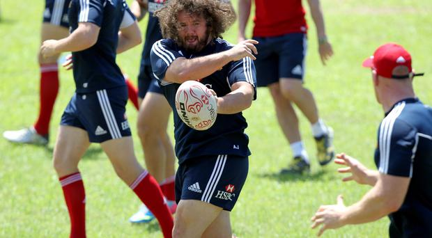 British and Irish Lions' Adam Jones during a training session at the Aberdeen Sports Ground, Hong Kong. David Davies/PA Wire.