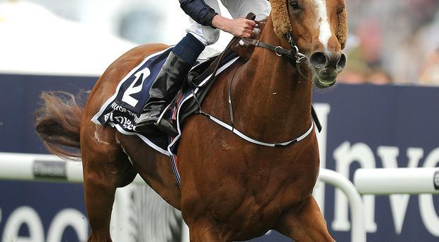 Ruler of the World ridden by jockey Ryan Moore comes home to win the Investec Derby