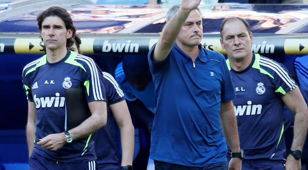 Real Madrid coach Jose Mourinho gestures after today's game
