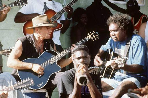 Mandawuy Yunupingu, right, plays with Peter Maffay and a didgeridoo-player earlier this year.