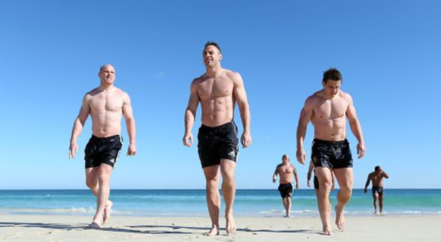 Paul O'Connell, Tommy Bowe and Jonathan Davies during a recovery session at City Beach, Perth