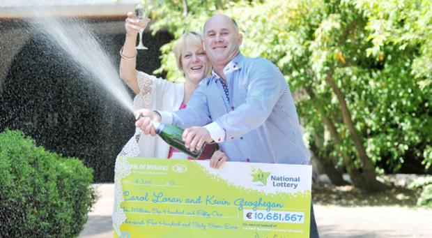 Lotto winners from Mullingar Kevin Geoghegan and Carol Loran
