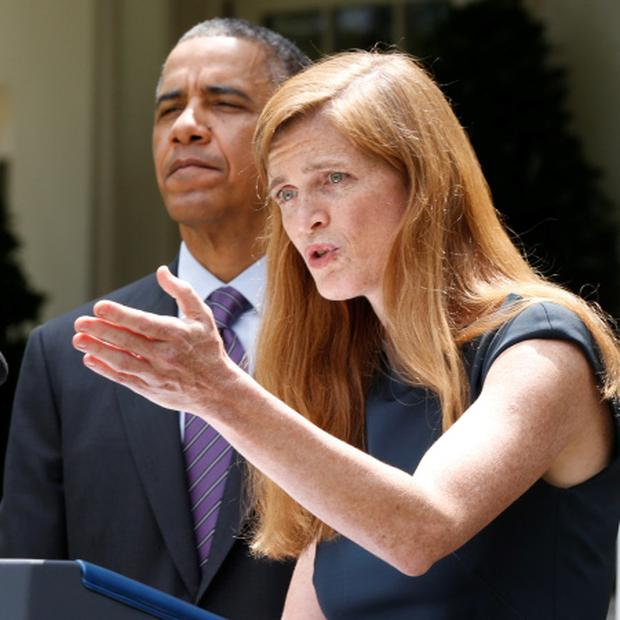 Samantha Power speaks about her appointment after US President Barack Obama made his announcement in the Rose Garden of the White House. Photo: Reuters