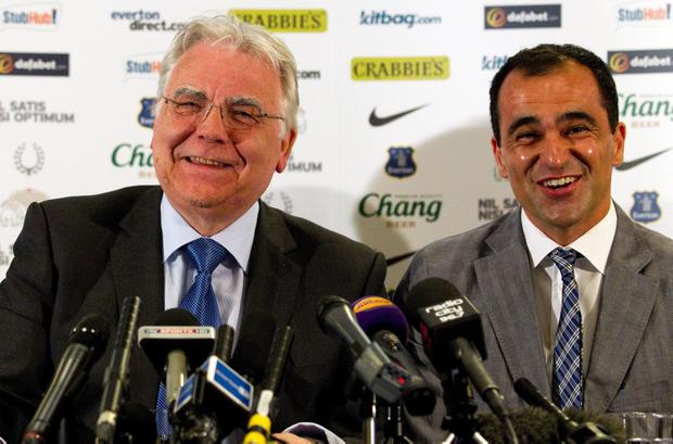 New Everton manager Roberto Martinez (R) and Everton Chairman Bill Kenwright laugh during the Everton FC press conference at Goodison Park. (Photo by Paul Thomas/Getty Images)