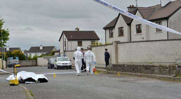 Garda at the scene in Cullairbaun Estate in Athenry last week