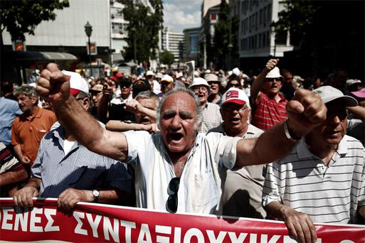 Pensioners shout slogans during an anti-austerity rally in Athens