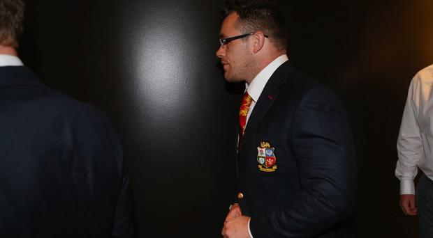 Cian Healy arrives for the hearing into allegations of biting at the Hilton Hotel in Brisbane, Australia.