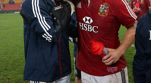 A disconsolate Tommy Bowe with Richard Hibbard after the final whistle