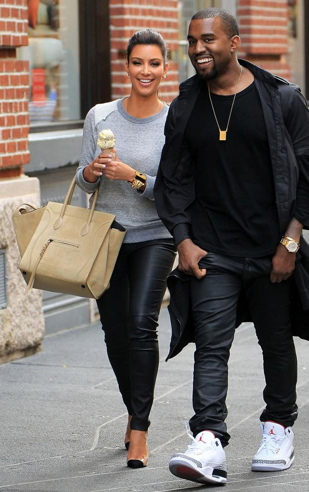 Kim Kardashian and Kanye West in 2012