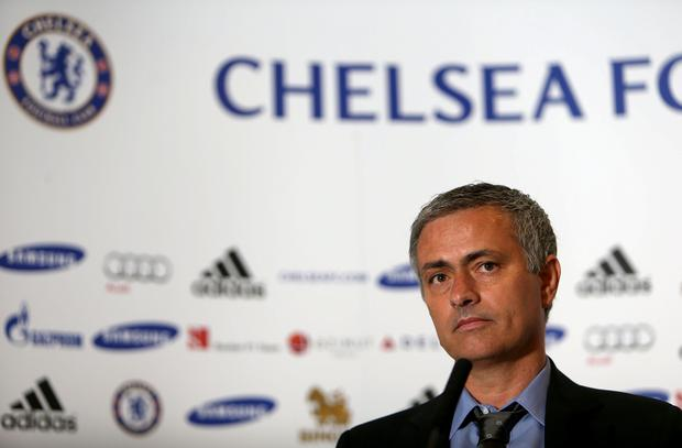 Chelsea's new manager Jose Mourinho during the press conference at Stamford Bridge today