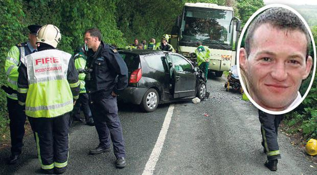 The traffic accident in Devil's Glen, Co Wicklow, where a helicopter was needed to airlift Niall Lynham (inset) to hospital.