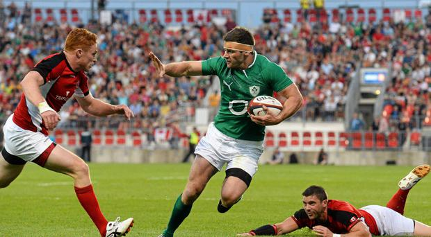Fergus McFadden goes over to score his side's second try against Canada