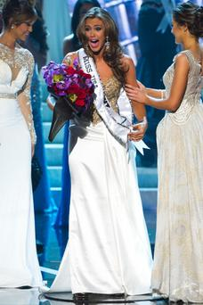 Miss Connecticut USA Erin Brady reacts after being crowned Miss USA
