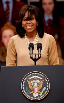 US First Lady Michelle Obama addresses the audience