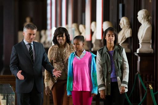 The First Lady of the United States of America Michelle Obama along with daughters Sasha (12) and Malia (14) met with Dr Patrick Prendergast, Provost in the Long Room at Trinity College, Dublin.