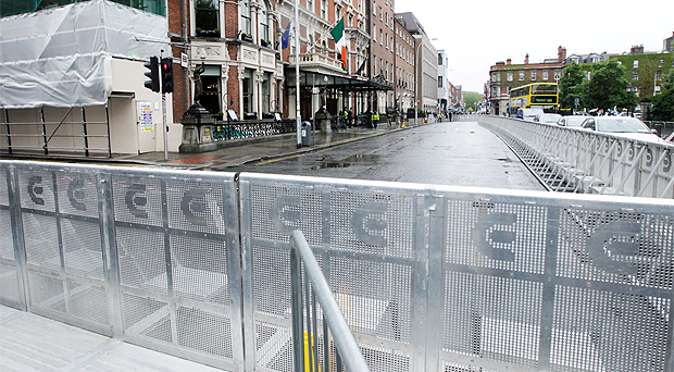The Shelbourne Hotel in Dublin surrounded by a ring of steel for the visit of Michelle Obama and her daughters