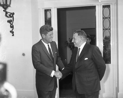 President Kennedy leaves the US Embassy in Dublin after talks with Taoiseach Seaan Lemass