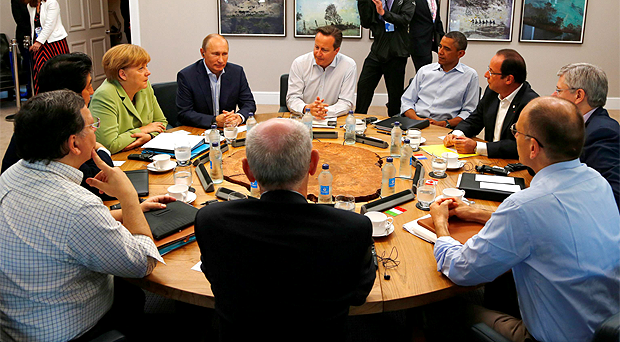 World leaders around the table at the G8 Summit