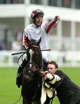 Johnny Murtagh celebrates his victory on Sole Power in The King's Stand Stakes
