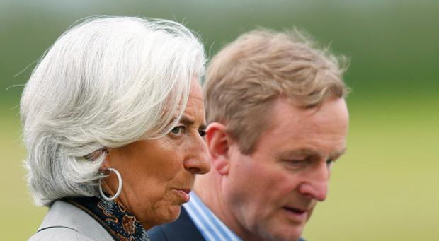 G8: Enda Kenny and Christine Lagarde at summit in Lough Erne