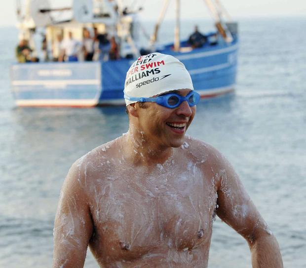 David Walliams swam the English Channel and the River Thames for comic relief.