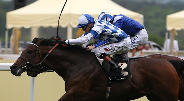 Al Kazeem ridden by James Doyle wins the Prince of Wales's Stakes ahead of Mukhadram
