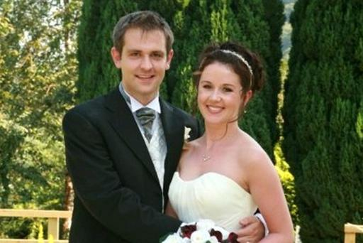 Jill Meagher on wedding day to Tom - unknown person in the middle