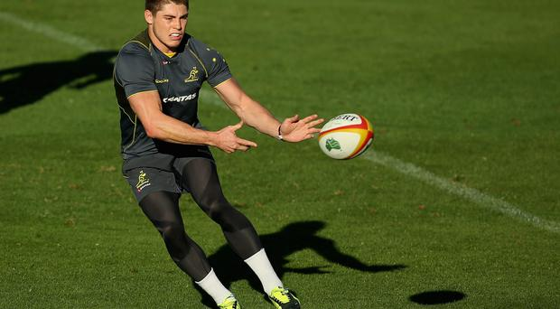 James O'Connor passes during an Australian Wallabies training session