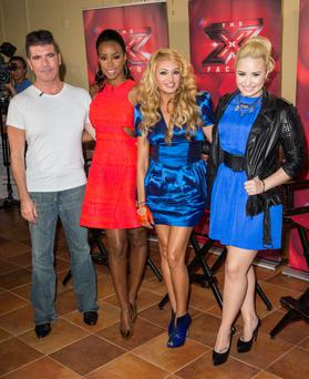 "Simon Cowell, Kelly Rowland, Paulina Rubio, and Demi Lovato attend ""The X Factor"" Judges press conference in New York"