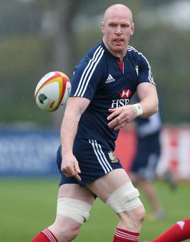 British and Irish Lions Paul O'Connell during the training session today