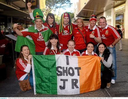 British & Irish Lions supporters from Limerick and Tipperary in Brisbane ahead of the game.