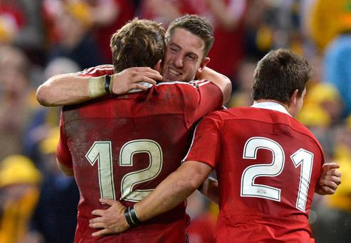 Alex Cuthbert, Jonathan Davies and Ben Youngs celebrate victory