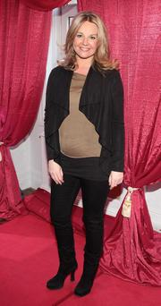 Claire Byrne showed off her growing baby bump at a recent Lancome event